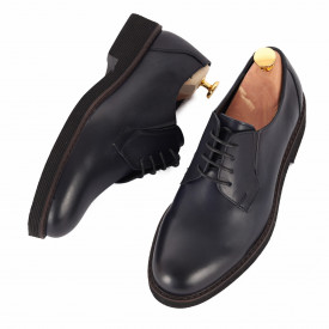 Pantofi din piele naturală cod 180 Albastru - Pantofi din piele naturală, model simplu, finisaje îngrijite cu undesign deosebit - Deppo.ro