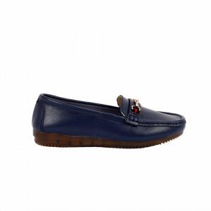 Pantofi din piele naturală cod 301 Navy - Pantofi pentru dame din piele naturală cu talpă flexibilă - Deppo.ro