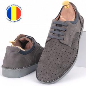 Pantofi din piele naturală Cod 601 Gri