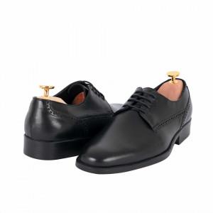 Pantofi din piele naturală cod 8547 Black - Pantofi din piele naturală, model simplu, finisaje îngrijite cu undesign deosebit prin vârful perforat - Deppo.ro