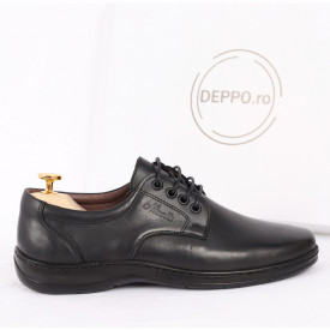 Pantofi din piele naturală cod 85499 Black - Pantofi din piele naturală, model simplu, finisaje îngrijite cu undesign deosebit - Deppo.ro