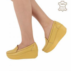 Pantofi din piele naturală cod H1789 Galbeni - Pantofi pentru dame din piele naturală cu talpă ortopedică flexibilă - Deppo.ro