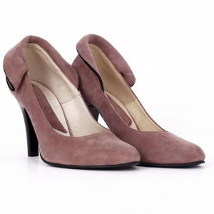 Pantofi din piele naturală cu toc cod RAX429 Purple - Pantofi din piele naturală întoarsă cu toc subțire și vârf ascuțit - Deppo.ro