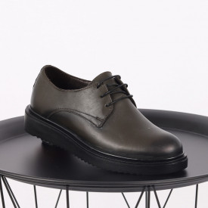 Pantofi din piele naturală kaki Cod 483