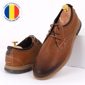 Pantofi din piele naturală maro cod 3223