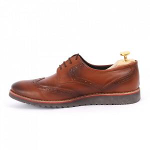 Pantofi din piele naturală maro cod 3225 - Pantofi pentru bărbaţi din piele naturală, model simplu, finisaje îngrijite cu undesign deosebit - Deppo.ro