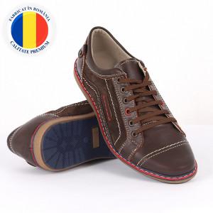 Pantofi din piele naturală maro cod 3268