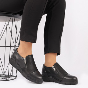 Pantofi din piele naturală neagră Cod 405