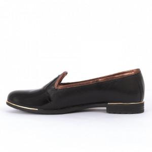 Pantofi din piele naturală negri Cod 1253 - Pantofi damă din piele naturală întoarsă , cu vârf lăcuit  Foarte comfortabili - Deppo.ro