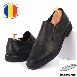 Pantofi din piele naturală negri cod 77141