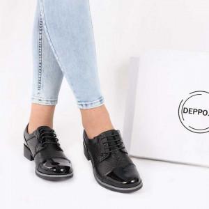 Pantofi din piele naturală Negri Cod 856691