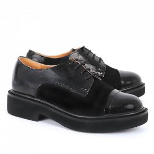Pantofi din piele naturală negru lac Cod 482