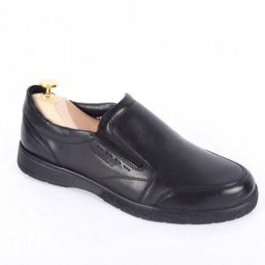 Pantofi din piele naturală pentru bărbați cod 182-1 Negru