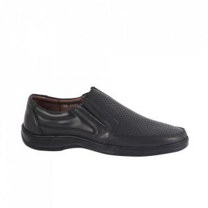 Pantofi din piele naturală pentru bărbați cod 200589 Negru