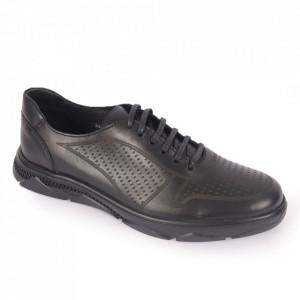 Pantofi din piele naturală pentru bărbați cod 323 Negru