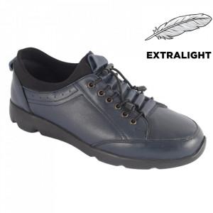 Pantofi din piele naturală pentru bărbați cod 5201 Navy Blue