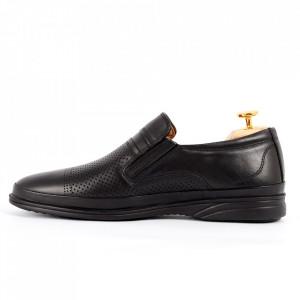 Pantofi din piele naturală pentru bărbați cod 652 Black - Pantofi din piele naturală moale pentru bărbați  Model perforat  Model simplu, finisaje îngrijite - Deppo.ro