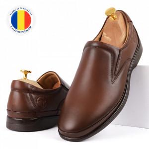 Pantofi din piele naturală pentru bărbați cod 8264 Taba