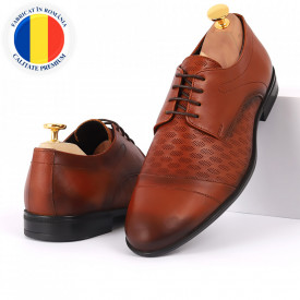 Pantofi din piele naturală pentru bărbați cod 9210 Maro deschis