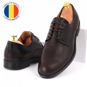 Pantofi din piele naturală pentru bărbați cod 961 Maro Închis