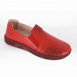 Pantofi din piele naturală pentru dame cod 2010 Kirmizi