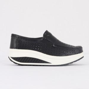 Pantofi din piele naturală pentru dame cod A522 Black
