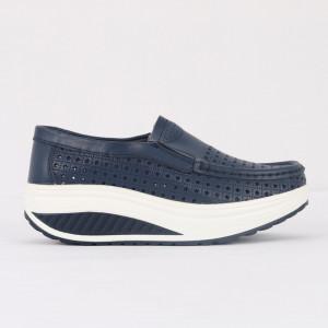 Pantofi din piele naturală pentru dame cod A522 Navy