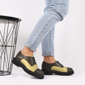 Pantofi din piele naturală verde Cod 482