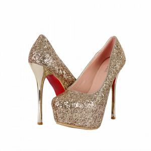 Pantofi Loann Gold cu toc înalt și platformă