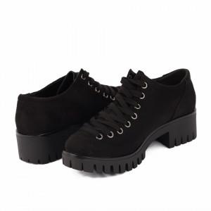 Pantofi pentru dame cod D50081 Negri - Pantofi pentru dame, din piele ecologica cu închidere prin șiret - Deppo.ro