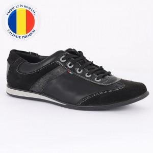 Pantofi sport din piele naturală negri cod 3298