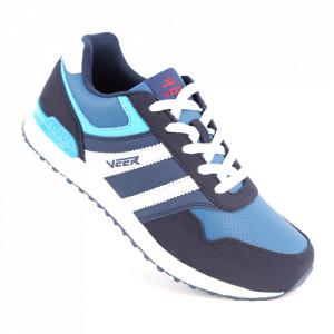 Pantofi sport din piele naturală pentru dame cod 1530-21 Deep Blue/Middle