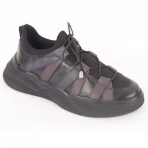 Pantofi sport din piele naturală pentru dame cod 232 Negru