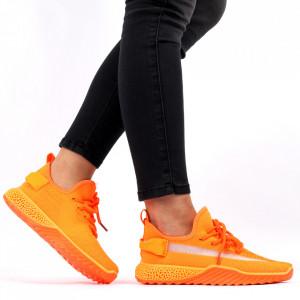 Pantofi Sport pentru dame Cod 1653SM Orange - Pantofi sport pentru dame dinpanză,talpă din spumă  Foarte ușori și comozi  Închidere prin șiret - Deppo.ro