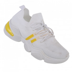 Pantofi sport pentru dame cod 86002 White/Yellow