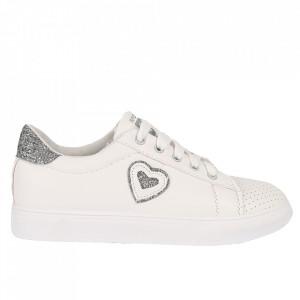 Pantofi Sport pentru dame cod 905 White/Silver - Pantofi sport din piele ecologică pentru dame  Model cu sclipici  Închidere prin șiret - Deppo.ro