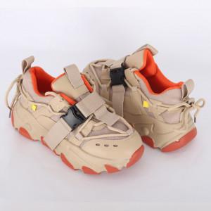 Pantofi Sport pentru dame cod H12 Beige - Pantofi sport pentru dame  Foarte comozi  Închidere prin șiret  Ideali pentru ieșiri și practicarea exercițiilor în aer liber - Deppo.ro