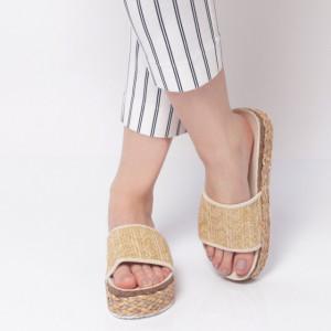 Papuci Damă din piele ecologica cod AG007 Beige
