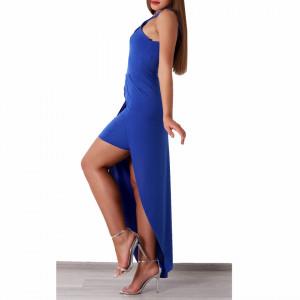 Rochie Brooke Albastră - Rochie elegantă cu un voal lung, buretată la bust.  Pune-ți silueta în evidență și atrage toate privirile, aspectul asimetric petrecut de la baza rochiei aduce un aer inedit ținutei. - Deppo.ro