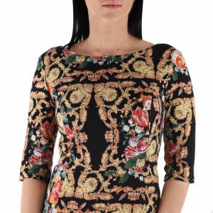 Rochie Felisa - Rochie scurtă, cu mâneci trei sfertuti, elegantă dar în același timp lejeră cu un design floral - Deppo.ro