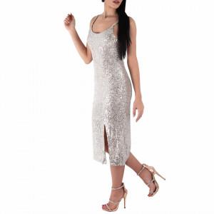 Rochie Garis - Rochie elegantă cu paiete de culoare argintiu spre auriu, simte-te atrăgătoare purtând această rochie și strălucește la urmatoarea petrecere. - Deppo.ro
