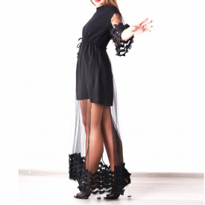 Rochie Jennifer Neagră - Rochie lungă neagră, elegantă, potrivită pentru orice ocazie ,simte-te atrăgătoare purtând această rochie și strălucește la urmatoarea petrecere. - Deppo.ro