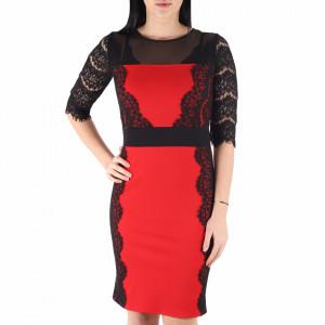 Rochie Liana Red - Rochie elegantă cu un decolteu acoperit cu plasă neagră dantelată, maneci trei sfert din plasă neagră dantelată, pune-ți silueta în evidență și atrage toate privirile - Deppo.ro