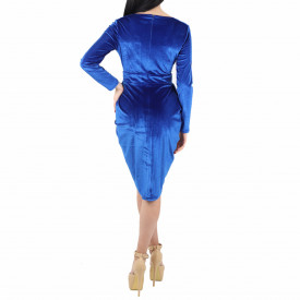 Rochie Morgan Blue - Rochie elegantă albastră din material tip catifea, simte-te atrăgătoare purtând această rochie și strălucește la urmatoarea petrecere. - Deppo.ro
