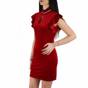 Rochie Rosalia Red - Rochie din material tip catifea, chic și elegantă, usor de accesorizat fiind ideală pentru orice eveniment. - Deppo.ro