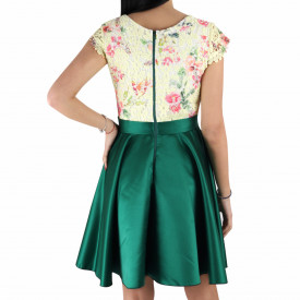 Rochie Shayna Green - Rochie deasupra genunchilor, lejeră cu un design floral - Deppo.ro