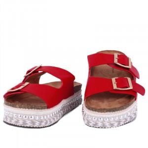 Saboți roşii pentru dame Cod S201 - Saboți din piele ecologică întoarsă Calapod comod - Deppo.ro