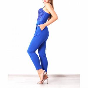 Salopeta Mattie Albastră - Salopetă din material ușor elastic, comodă, dar elegantă! Strălucește la următoarea petrecere și poartă această salopetă! - Deppo.ro