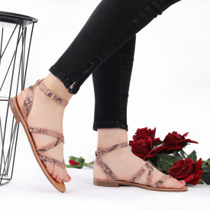 Sandale cu talpă joasă cod M35 Pink Snake