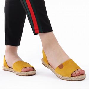 Sandale pentru dame cod F22 Yellow - Sandale pentru dama din piele ecologică întoarsă Calapod comod - Deppo.ro